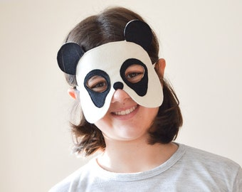 Panda Bear Felt Mask for Children, Kids Animal Halloween Carnival Mask, Dress up Costume Accessory, Pretend Play Toy for Girls Boys Toddlers