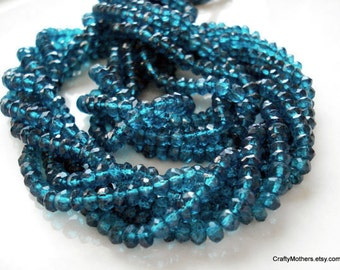 "LONDON BLUE Mystic TOPAZ Faceted Rondelle Beads, 3.5mm (1/4 Strand, 3.5"" long), gemstone beads, supplies, mystic topaz"