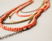 Bohemian style layered  long multiple chain necklace - Ivory - peach coral boho jewelry multi layering necklace