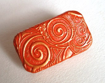 Metal Pill Box Apricot Spiral Swirls Purse Accessory Vitamin Holder Flat Slide Top Tin Unique Handmade Gift FREE Velvet Gift Pouch