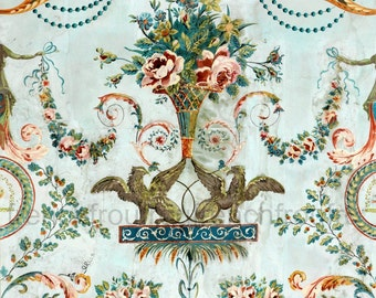 antique french wallpaper illustration griffin and pink roses digital download