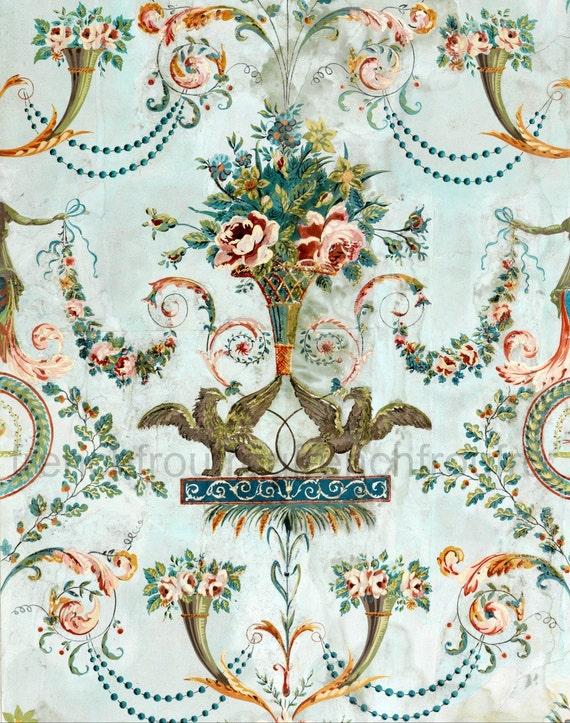 antique french wallpaper illustration griffin and pink roses ForOld French Wallpaper