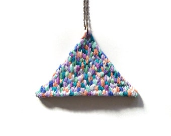 Hand embroidered Triangle Big Necklace Embroidered Handembroidered Geometric Textile Jewelry Art Long Pendant Statement Necklace Jujujust