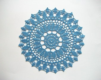 Crochet Doily Blue Cotton Lace Table Topper Heirloom Quality