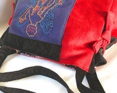 Horror Cinema Tote Expandable with hand embroidered imagery - Macabre Exorcist Locust Bag
