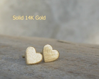 14K Solid Gold Studs Earrings, Heart Solid Gold Earrings, Gold Stud Earring, Gold Heart Studs, Stud Earings, Heart Studs, Gold Hearts Stud