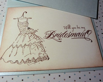 Will You Be My Bridesmaid / Maid of Honor Invitation Card Vintage Wedding