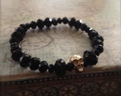 Skull Bracelet Black Bead Stretch Bangle Goth Inspired Fashion Jewellery