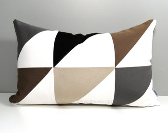Geometric Pillow Cover, Modern Outdoor Pillow Cover, Decorative Black White Pillow Cover, Brown Grey & Beige Sunbrella Cushion Cover