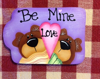 Valentine's Day Be Mine Bear Couple Hand Painted Wood Gift Tag