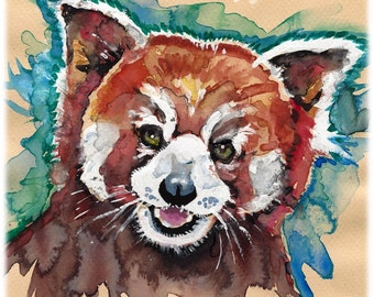 POSTER SIZED Red Panda Watercolor Painting Print, Artist-Signed