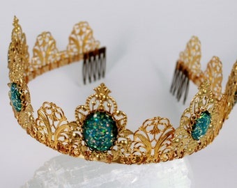 Mermaid's Tail Fantasy Phoenix Gold Renaissance Game of Thrones Tudor Filigree Tiara