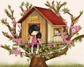 Art decor for kids rooms, childrens wall decor, kids art, nursery art, Tree house