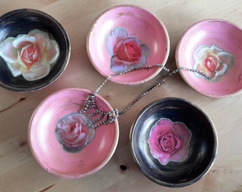 French Deco styled wooden bowls, jewelry storage, pink black and gold with Rose decoupage