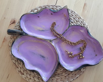 Purple painted wooden leaf bowl Jewelry holder Jewelry organizer Stotage