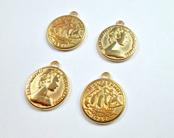 Gold plated vintage coin charms, 2 coins
