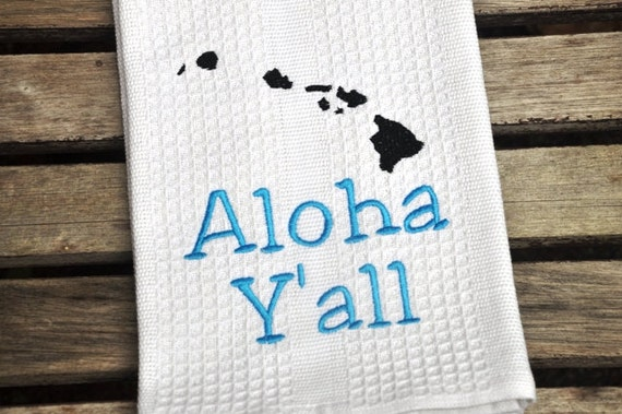 Embroidered White Dish Kitchen Or Hand Towel With Aloha Y 39 All