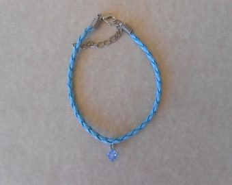 Blue Crystal Blue Braided Leather Bracelet