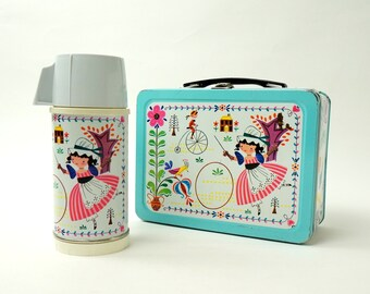 Vintage 1950s Childrens Lunchbox / Rare Universal Little Dutch Miss Tin Lunch Box and Thermos Set 1959 VGC