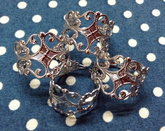 10 pcs Silver Plated Filigree Ring