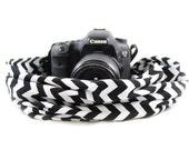 Chevron Black Scarf SLR Camera Strap