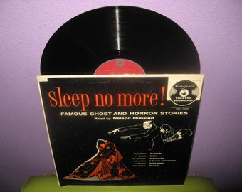 HOLIDAY SALE Rare Vinyl Record Sleep No More: Famous Ghost & Horror Stories LP 1956 Radio Drama Halloween