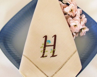 Monogrammed Beige Linen Napkin, Dinner Napkins, Set of 4, Design Your Own Monogram:  Cottage Roses or Modern or Elegant
