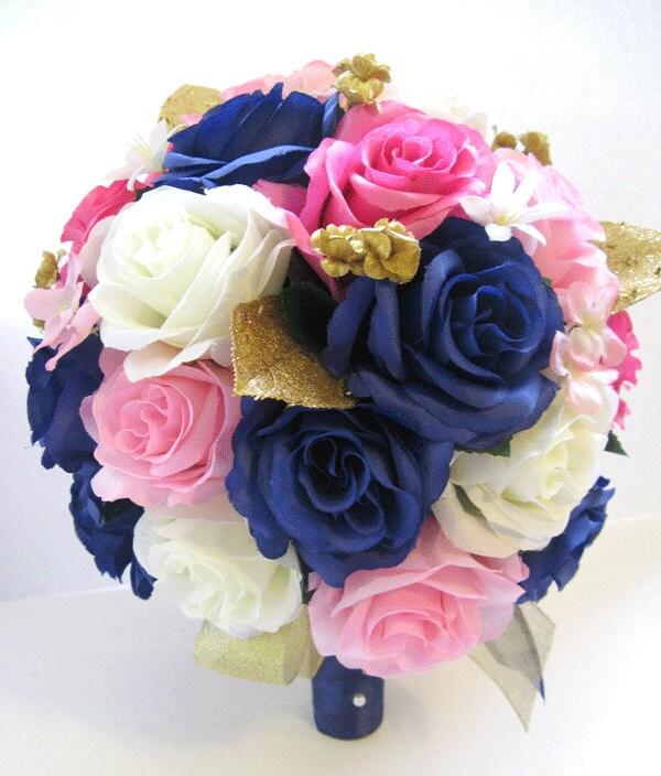 Pale Pink Wedding Flower Bouquets: Wedding Silk Flowers Bridal Bouquet Hot PINK NAVY Light Pink