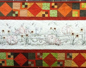 Along the Fence Fall Table Runner Machine Embroidery Pattern Turnberry Lane