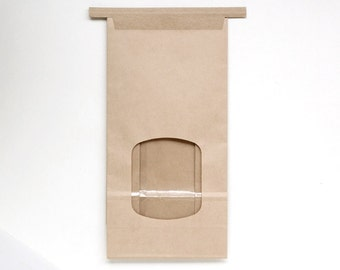 Kraft Paper Bakery Bags with Window - Tin Tie Bags - Brown Paper Bakery Bags - Wedding Favor Bags (12)