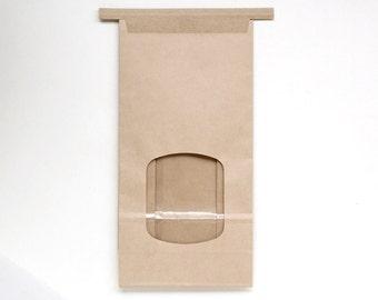 Kraft Paper Bakery Bags with Window - Tin Tie Bags - Brown Paper Bakery Bags - Wedding Favor Bags (12)