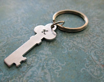 personalized hand stamped aluminum key keychain with your choice of inital or initials