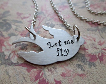 let me fly - hand stamped aluminum bird sparrow necklace with inspiring message
