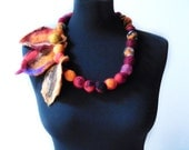 statement necklace felt leaves and balls eco friendly necklace, strand necklace
