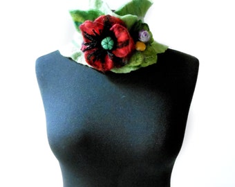 felted poppy collar scarf, eco friendly, winter fashion accessories