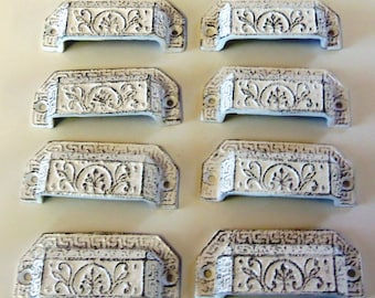 Set of 8 Drawer Pulls Cast Iron Bin Pulls Ornate White Distressed Cottage Chic 3-1/4 Inch  Centers
