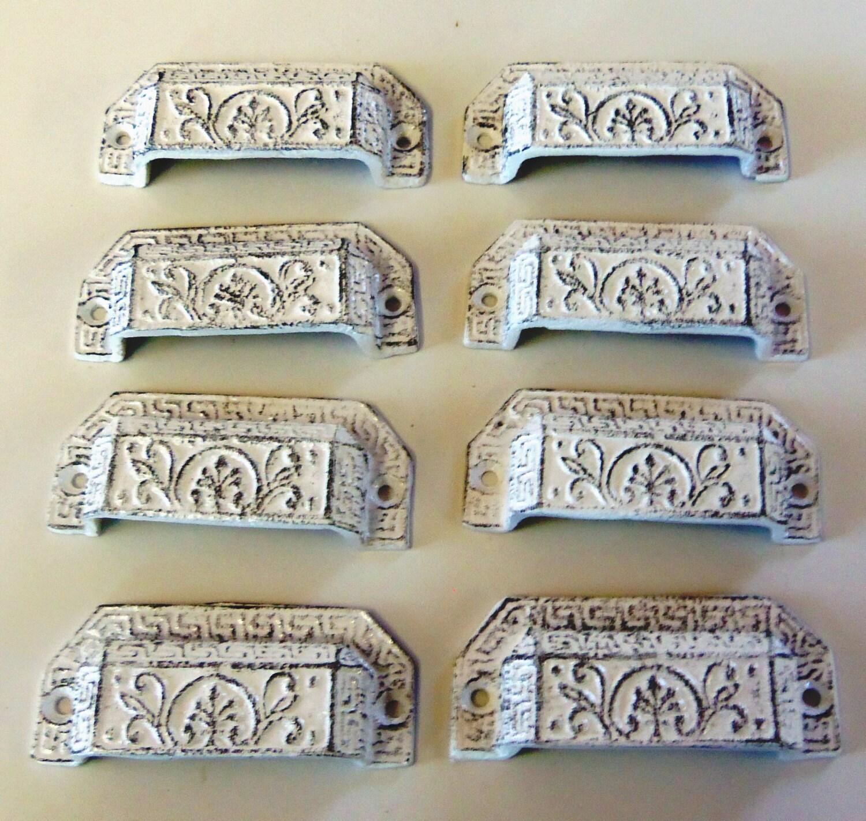 set of 8 drawer pulls cast iron bin pulls ornate white. Black Bedroom Furniture Sets. Home Design Ideas