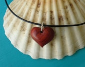 TINY RED HEART Pendant in Exotic Red Heart Wood with Sterling Silver, Valentine's Day Gift