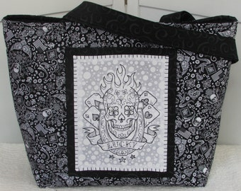 Lucky Skulls Tattoo Large Tote Bag Bandanna Skulls Purse Ready to Ship