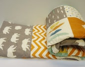 Modern Baby Boy Quilt-Rustic Baby Bedding-Organic Birch Fabric-Chevron-Gray-Grey-Orange-Bear Hike-Woodland Animal Baby Blanket