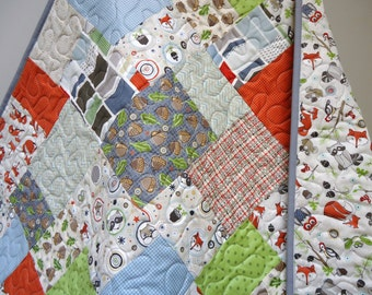 Patchwork Baby Boy Quilt-Modern Woodland Patchwork Crib Bedding-Adornit Timberland Critters Animals-Fox Owl Raccoon Baby Blanket