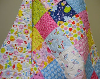Baby Girl Quilt-Modern Fabric-Wildflower Meadow-Traditional Patchwork Crib Bedding-Navy Pink-Hedgehog-Hummingbird-Dragonfly-Toddler Quilt