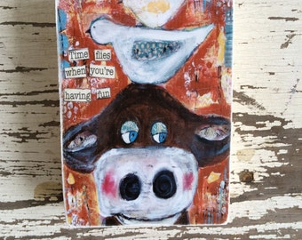 cow with bird,ACEO  Reproduction Mounted On Wood Block by Sunshine Girl Designs (2.5 x 3.5 Inches Print)