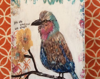 bird,you are loved, ACEO  Reproduction Mounted On Wood Block by Sunshine Girl Designs (2.5 x 3.5 Inches)