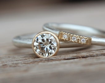 Modern Silver Gold Moissanite Engagement Wedding Ring Set Small Diamonds - Zengagement and Glow Row