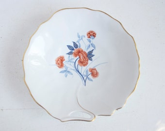 Limoges Bowl Or Tidbit Dish, Orange Flowers, Deshoulieres, Peonies, French Vintage, Gift For Mom, Under 20