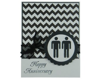 Gay Anniversary Card - Lesbian Anniversary Card - Chevron Anniversary Card - Black and White Anniversary Card - Custom Anniversary Card