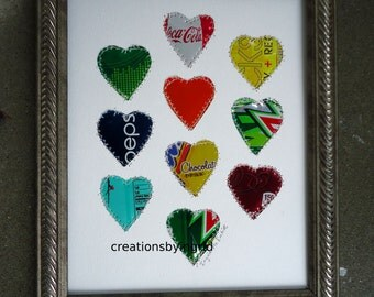 Tin Anniversary Gift - 10 year Wedding Anniversary - HEARTS -  Unique Wedding Gift - Kids Room - Mixed Media