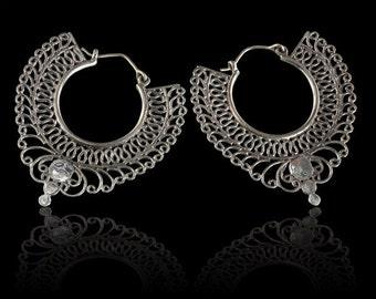 Decorated Indian Silver Hoops, Silver earrings, Ethnic earrings, Gypsy earrings, Indian earrings, Bohemian silver earrings