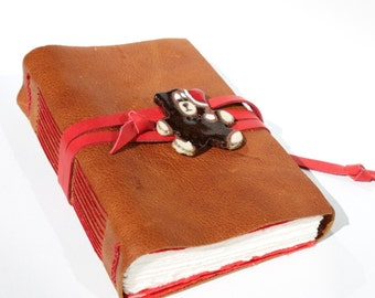 Santa Bear - Handmade Leather Journal Notebook Scrapbook